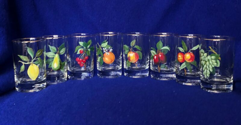 "Vintage West Virginia Glass Company Fruit Juice Glasses (8) Gold Trim 3.5"" 4oz."