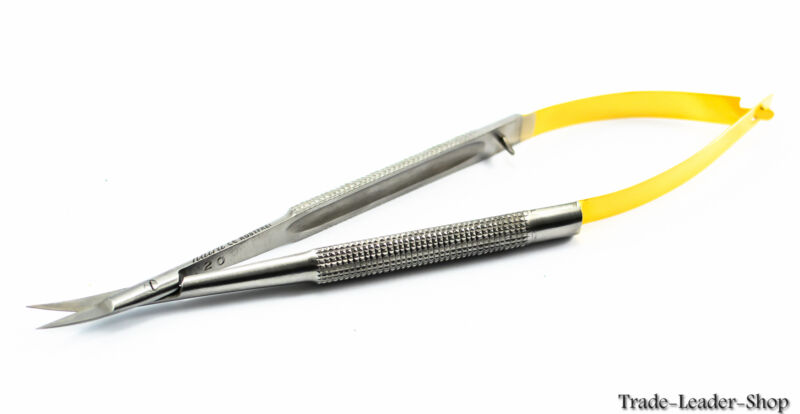 Castroviejo Micro Scissor 18 cm curved scissors TC gold suture Natra Germany