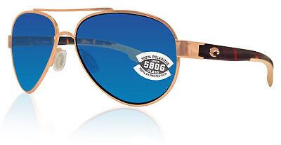 Costa Del Mar Loreto Rose Gold Tortoise Blue Mirror 580G Glass Polarized (Costa Del Mar Glass Lenses)