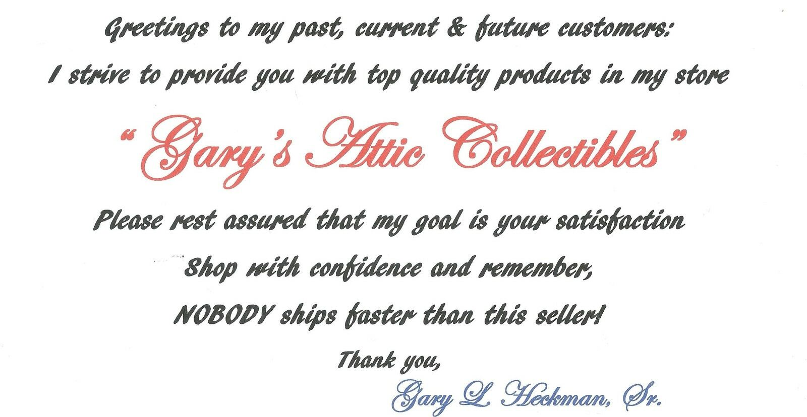 GARY'S ATTIC COLLECTIBLES