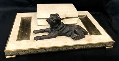 Antique Polished Limestone Desk Tidy With Bronze Inlay And Bronze Dog Figure