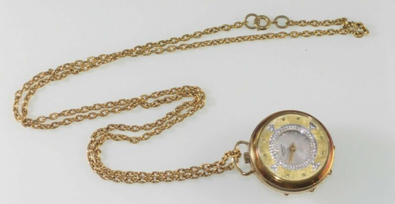 Vintage Norman De Luxe Antimagnetic Wind Up Necklace Pendant Watch Jeweled