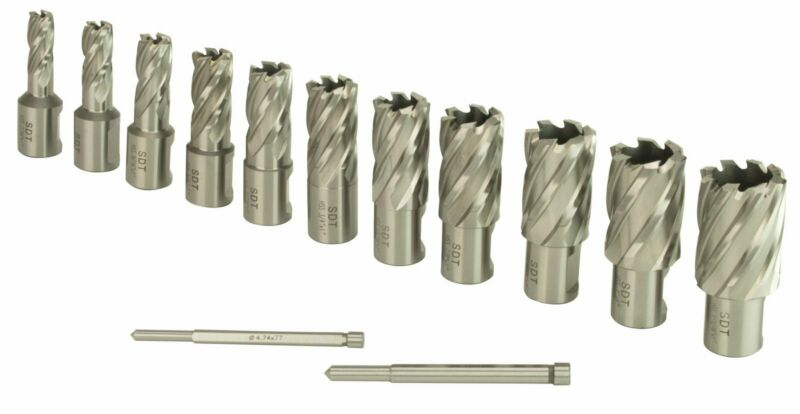 "Steel Dragon Tools® 13pc. High Speed Steel HSS Annular Cutter Kit 1"" Depth"
