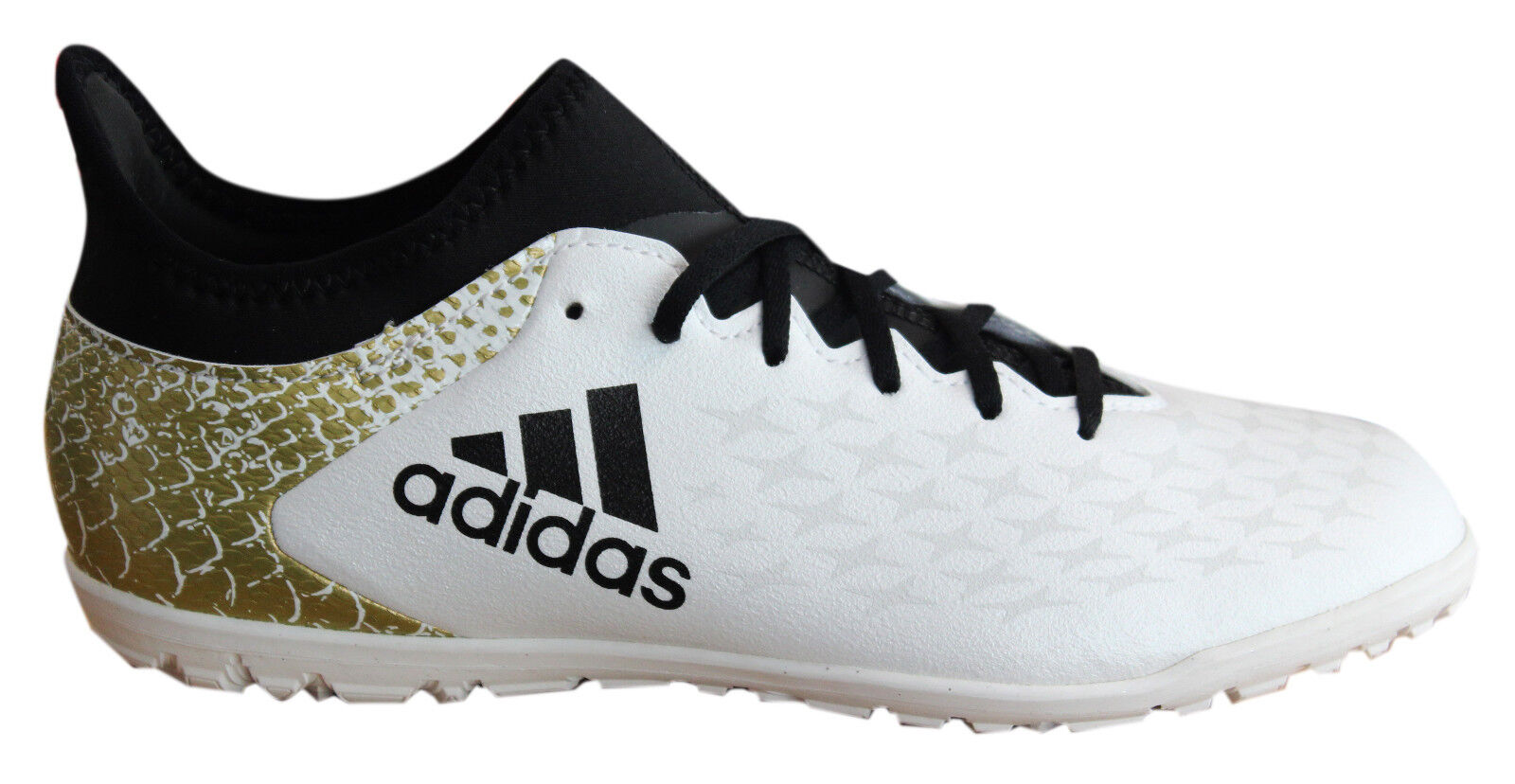 Adidas X 16.3 TF Astro Lace Up White Black Gold Kids Football Boots ... 85db4e823241