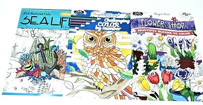 3 New Adult Coloring Books lot #99 ~ Sea Life~Challenging By Number~ Flower Shop
