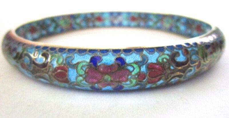 Cloisonne Vintage Chinese Export Vintage Floral Bangle Bracelet