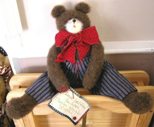 """TEDDY BEAR COLLECTIBLE 16"""" PLUSH PATRIOTIC HANDMADE AMERICANA red white blue new"""