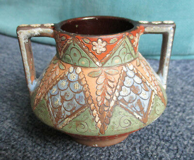 Antique Thoune pottery 2 handled small pot by Johann Wanzenried 2.1/2 inch tall