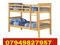 SINGLE WOODEN Bunk Bed WITH DEEP QUILTED Matrs