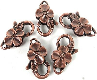 - 25x14mm Large Antique Copper Pewter Flower Lobster Claw Clasps (5)