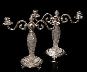 Pair-Antique-Cut-Glass-Silver-Plated-Two-Branch-Candelabra-Edwardian-c-1910