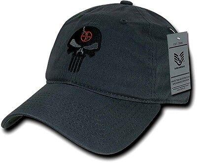 Gray Skull Cap (Dark Gray Punisher Skull Military Navy Seal Special Forces Polo Baseball Hat Cap )