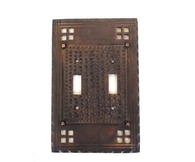 Arts and Crafts Double Gang Switch Plate Mission Oil Rubbed Bronze Brass Oil Rubbed Bronze Arts