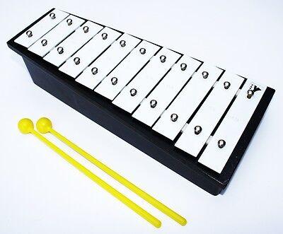 11 Ton Glockenspiel schwarz mit Schlegeln