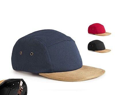 Cotton Canvas 5 Panel Plain Baseball Cap Hat with Leather Strap Faux Suede Peak Cotton Suede Cap