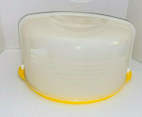 Tupperware Large Round Cake Taker Carrier Yellow New Old Stock