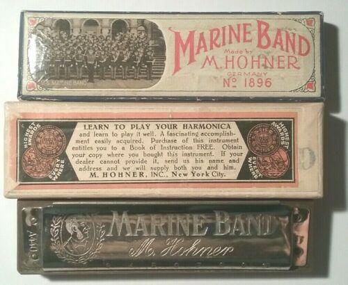 PRE-WAR M. Hohner Marine Band Harmonica No 1896 GERMANY BLUES KEY OF D A440 +BOX
