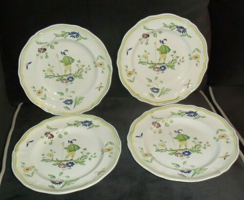 "Longchamps MOUSTIERS ~ 4 Dinner Plates 10 1/4"" Hand Painted France"
