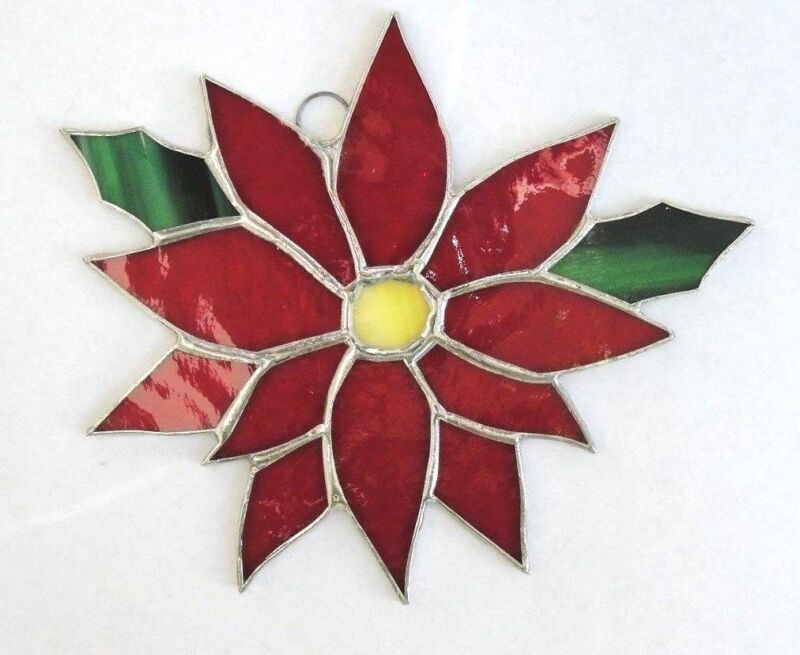 CHRISTMAS POINSETTIA -   stained glass   - HANDMADE  by FIESTA COLOR