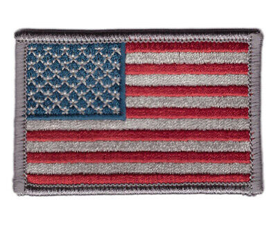 Subdued Grey Silver USA Flag American ACU VELCRO® BRAND Hook Fastener Patch