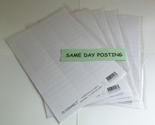CHEAP Suspension File Inserts Tabs White Card Qty 250 *****SAME DAY POSTAGE*****
