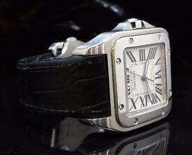 2010 Cartier Santos 100 XL Good Condition with Box & Original Purchase Receipt