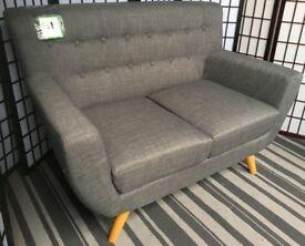 Birlea loft scandi grey 2-seater sofa NEW button back