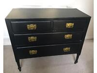 Chest of draws - wooden, black, 4 draws