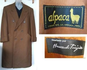 44R MENS ALPACA WOOL Vintage Coat Double breasted Hernando Tuijillio Soft Brown Long Gangster Large L Short Sleeves Retr
