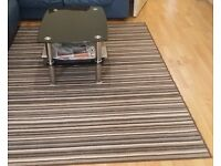 Soft and Luxury Brown Rug With white lines , 160x220cm and Black Coffee Table with chrome legs