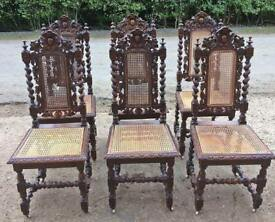 6 x Jacobean style chairs on casters
