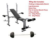 Weight Bench With Weights and Bars Complete Set: From ONLY £65
