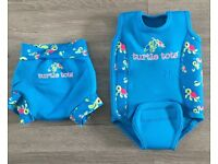 Sold. Turtle Tots Baby warma neoprene suit and neo-nappy blue