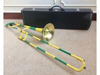 Unusual Trombone Yellow Green Striped Circus Novelty Performance Theatre + Case