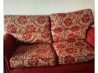 Red and Taupe 3 Piece Suite