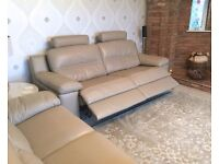 NEW SOFOLOGY LAZIO - Stunning 2x (un-used) Leather Sofas. inc, Double Power Recliner with headrests