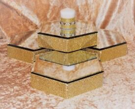 REDUCED can post - 8 x gold wedding mirror plate centre pieces