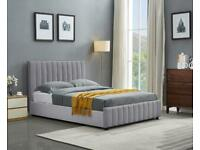 Double and King Size Lucy Ottoman Storage Bed Frame in Grey and Beige Color Choices