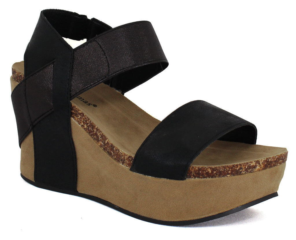 a8e87e0205a9 Pierre Dumas Women s Hester Ramp Wedge Black Synthetic Sandals