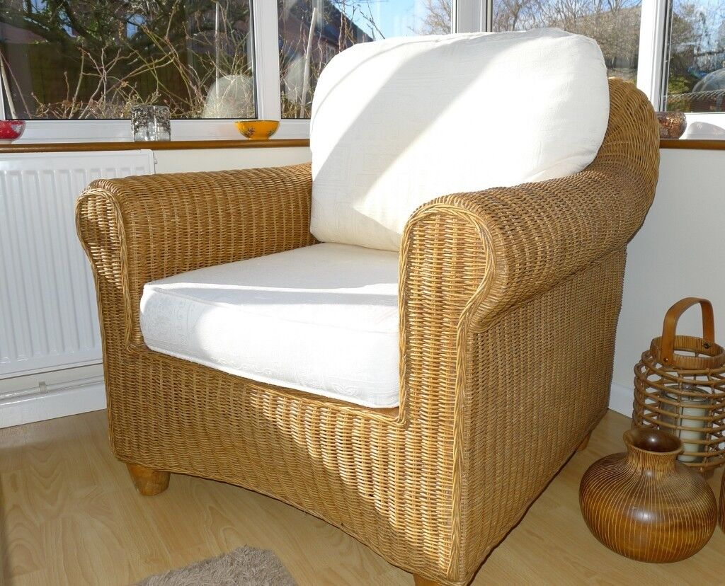 Cane Conservatory Chair With Seat And Back Cushions In Bishops