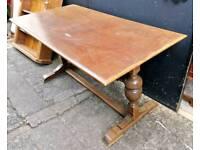 Solid oak vintage refractory dining table