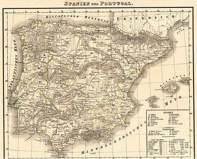 Echte 176 Jahre alte Landkarte von PORTUGAL und SPANIEN 1842