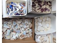 Job Lot. Broken tiles and crockery. For mosaic. 6 tubs/boxes. Art or Craft project.