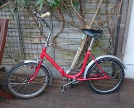 Red folding hipster bicycle for sale, great condition