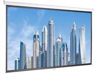 Amazon Basics 100 inch (254 cm) Manual Pull Down Projector Screen 4K / 8K Ultra HDR 3D Ready (16:9)