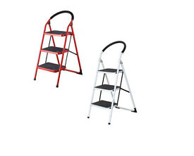 3 Step Tread Heavy Duty Non Slip Folding Stepping Step DIY Ladder Home Work White Red Orange Yellow