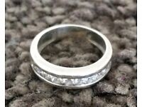 H Samuel Silver Cubic Zirconia Eternity and 5 stone ring