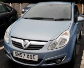 2007 vauxhall corsa in blue long mot taxed to drive away