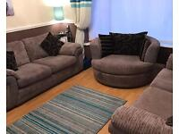 Sofa set 3 + 2 + Swivel chair and Puffy / foot stool