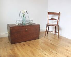 Vintage Stained Pine Storage Chest / Coffee Table